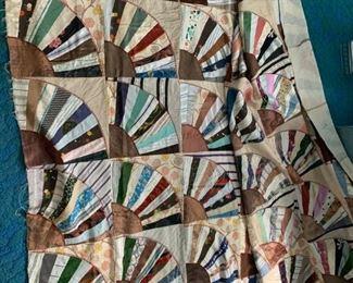 vintage fan quilt top