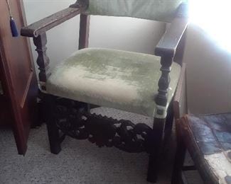 One of a pair of chair with carved front stretcher.