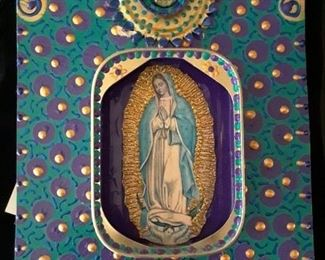 Our Lady of Guadelupe in colorful tin. Excellent condition.