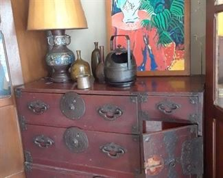 Antique Tansu. Yes, a piece is missing.....still old and good.