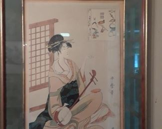 Geisha with lute. Interesting example