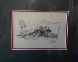 Sketch of the original location of Earl Abels signed by Earl and Carol Abel and artist Karen Murray