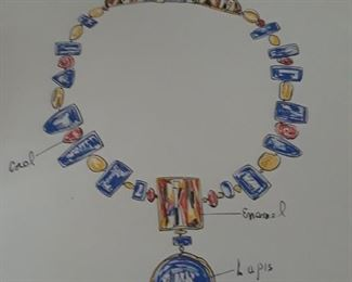One of Miye's designs for an important lapis necklace is framed as art.