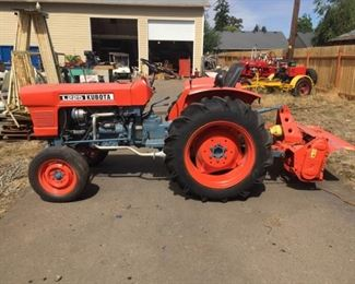 1970's Kubota L225 Tractor with Rototiller Attachment 1100 hours ~ Runs Great
