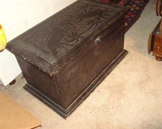 Antique hand carved oriental chest.
