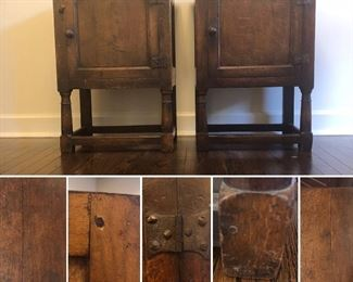 "17th -18th Century Antique Side Cabinets with stretchers at base. Unique Dentil Molding. Has many original hardware attached. Very good condition.  Ware is consistent with  age and use. It has  a nice warm patina color. One side cabinet has an added interior drawer. Approximate measurement per cabinet 28""Hx21""xW""15""D  Each will be auctioned individually."