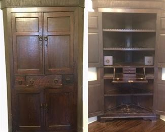 "Unique 18th Century Corner Cabinet Cupboard with Hidden Secretarie.  Beautiful scalloped detail on shelves. Non-working lock.  Condition is good, wear is consistent with use and age.  Warm aged patina, Missing side molding on left side. See pictures. Measurements is approximately 78""Hx48""W""x26""D"