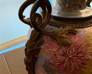 1800's Art Nouveau Sevres Lidded Porcelain and Bronze Vase Signed