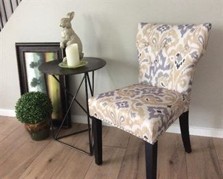 Parsons chair, metal table, art work ,accessories