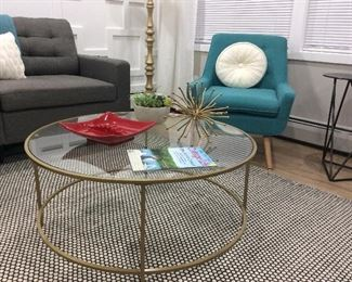 Wayfair couch,  chairs, gold coffee table