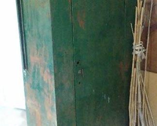 Vintage industrial painted metal locker.
