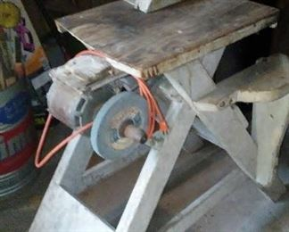 Home-made table saw.