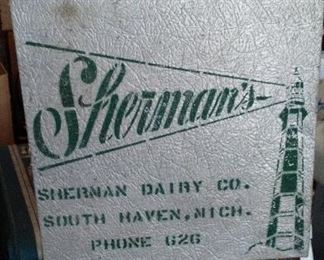 Vintage Sherman Dairy Co. of South Haven insulated aluminum milk/ice cream cooler.