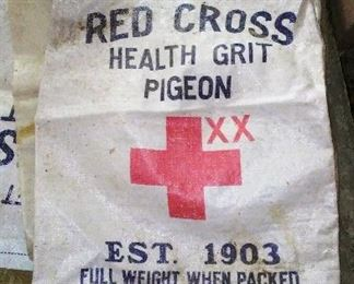 Vintage  Red Cross woven polyester seed & feed bag.