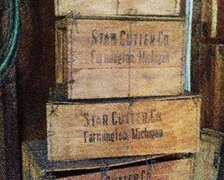 Stack of Star Cutter of Farmington, Michigan shipping crates.