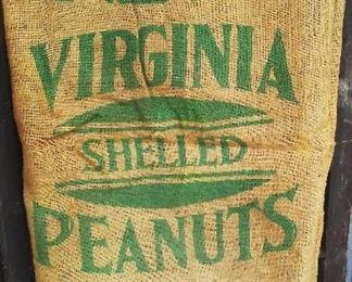 Antique Birdsong Peanuts burlap seed & feed bag.