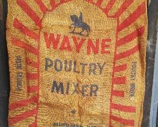 Antique Wayne burlap seed & feed bag.