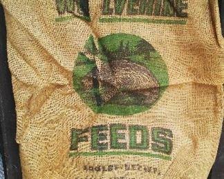 Vintage Wolverine Feeds of Michigan burlap seed & feed bag.