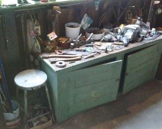 Vintage painted low work cabinet.