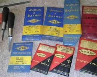Vintage new-old-stock full packs of Whitman & Barnes, Cleveland and Cle-forge drill bits.