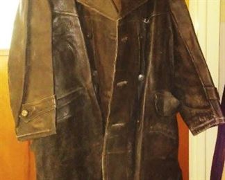 WW2 Russian-made leather trench-coat with boots.