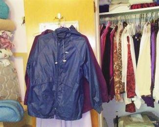 Vintage women's Lacoste rain jacket, L.L. Bean loungewear and various clothing pieces.
