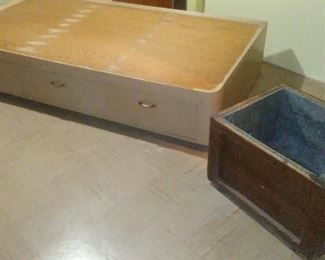 Handmade single bed platform with three under-storage drawers and vintage  insulated wooden box.