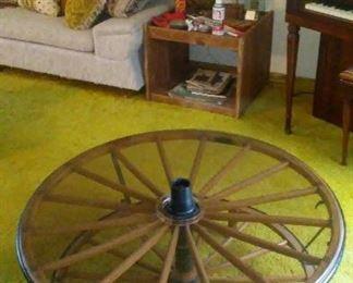 Vintage true wagon wheel low coffee table.