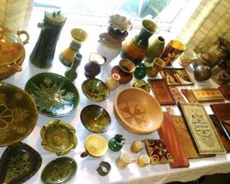 Vintage Latvian glazed pottery and leather crafted  goods.