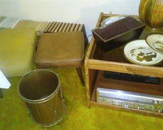 Vintage drum-themed wastebasket, Pioneer stereo receiver and vintage footstools.