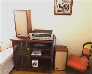 Kenwood receiver, KLH speakers and orange vinyl footstools.