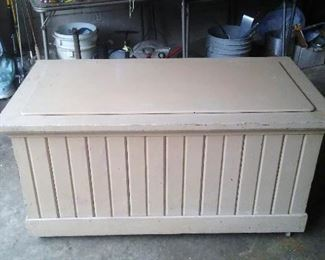 Vintage painted wooden storage chest or trunk.