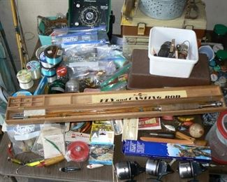 Fishing tackle including Frank Hacking bamboo fly casting rod in original box.