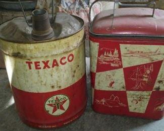 Vintage Texaco 5 gal. metal gas can and vintage cooler.