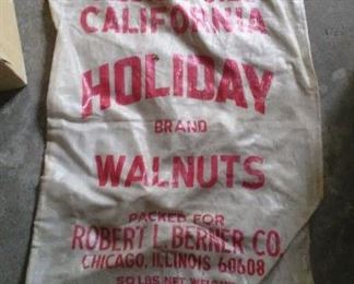 Vintage Holiday woven polyester seed & feed bag.