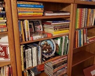 Five oak 5-shelf book cases stuffed with rail road books and collectables