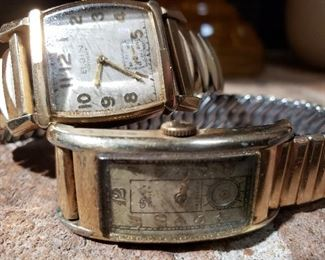 Working 1937 Elgin mechanical 15 jewel art deco watch and 1930's Gruen Curvex tank watch