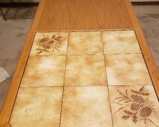 Oak/tile adjustable quilters table