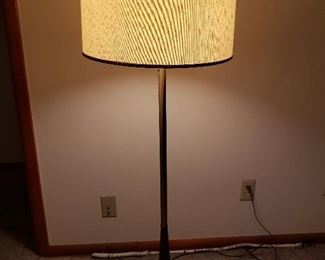 MCM wood/brass floor lamp