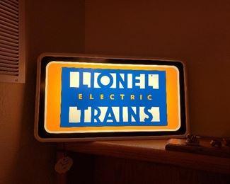 Lionel store backlit sign