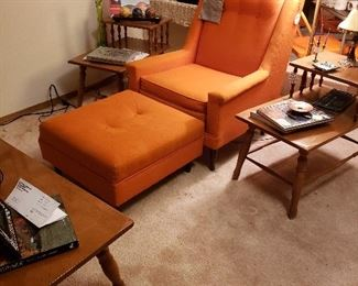 MCM chair/ottoman, two-tier side tables, coffee table