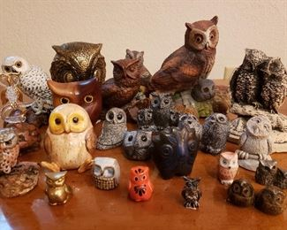 Collection of owl figurines