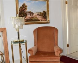 wing Back Chair, Ottoman, Crystal Lamp, Brass & Glass Table, Oil Painting by Hilton