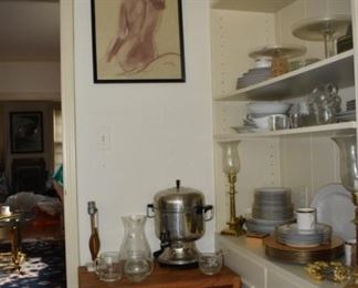 Coffee Server, C S, Art, Crate  Barrel China, Serving Dishes, Glass Dish, Cream Sugar, Candle Holders, MCM Small Lamp, Art