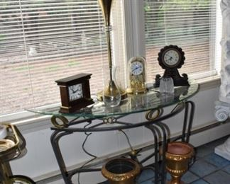 Glass Top Table, Clocks, Modern Lamp, Pottery, Anniversary Clock