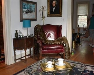 Leather Chair, Antique Smoking Stand, MCM Lamp, Nice Brass Table, Leopard Blanket, Original Art Winter Scene in Oil, Oil of G Washington by Donald Douglass, Area Rug