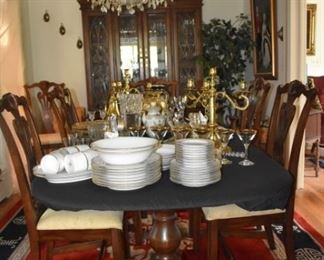 Mahogany Table  & Chairs,  China Cabinet, China, Stemware, Candleoperas, Mikasa Vases, Amber Covered Glassware, S & P, Serving Items, Tea Cups, Golden Flatware, Asian Design Area Rug