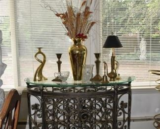 Glass & Metal Table with Wine Rack, Brass Swan Candle Stick, Crystal Vase, Brass Vase, Brass Stick Lamp