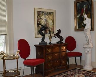 Overview Living Room, Austin Bronze Horse, Bronz, Discus Thrower, Asian Lady with Chinese Signature (Ivory), Statuary, Young G Washington in Oil by Gilliam, Norman Rockwell Framed Art