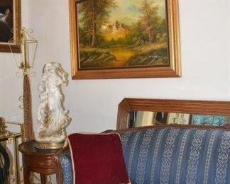 Large Original Oil by Mountain Scene by Mitchells, Sofa, Statuary, End Table, Tall Floor Candle Holder